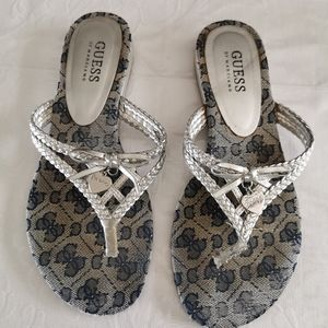 Guess By Marciano Silver Heart Thong Sandals